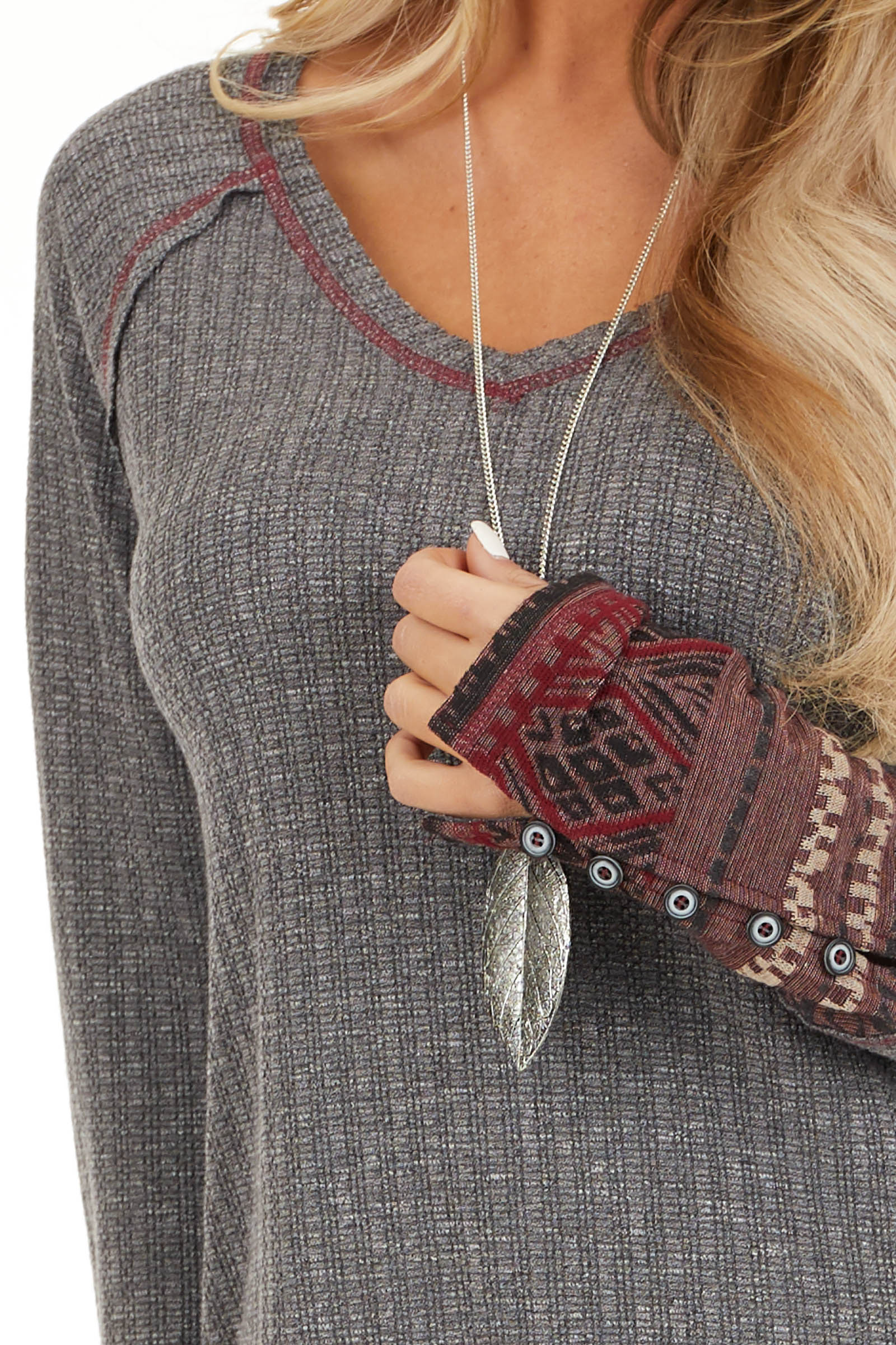 Charcoal Knit Long Sleeve Top with Aztec Print Contrast detail