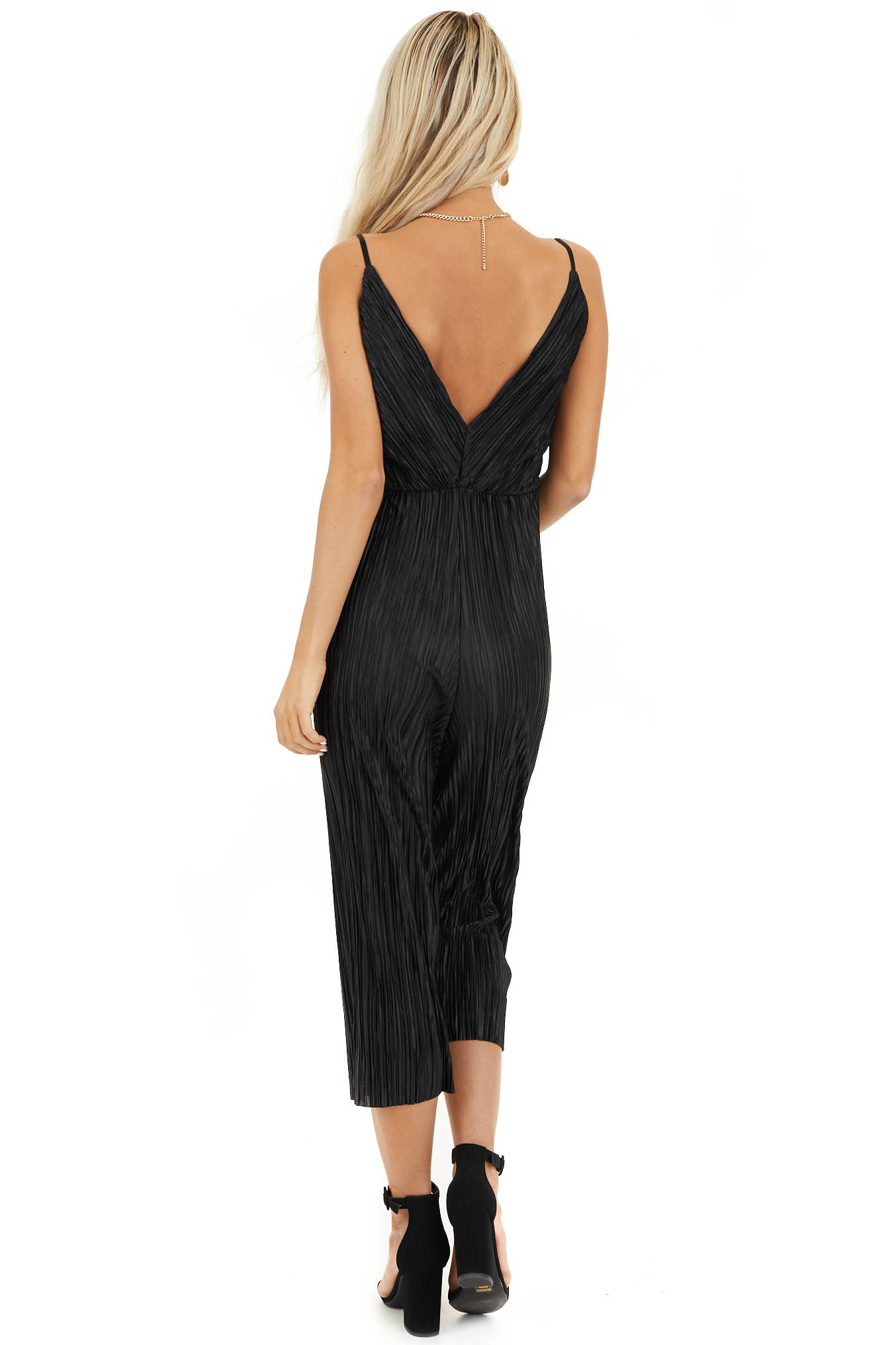 Black Silky Textured Jumpsuit with Criss Cross Neckline back full body