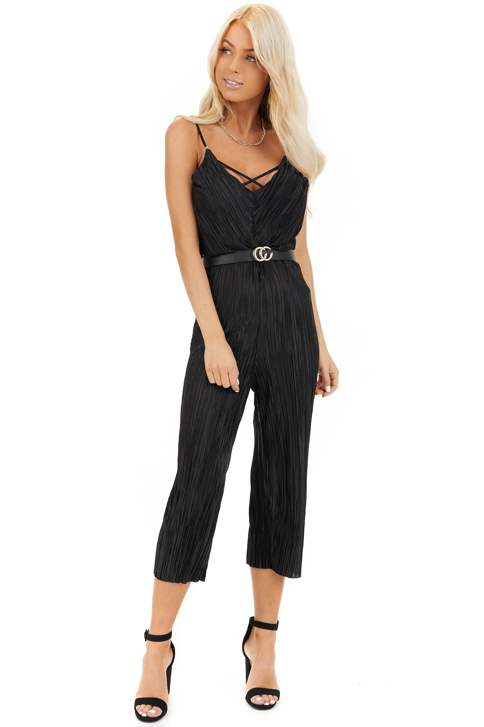 Black Silky Textured Jumpsuit with Criss Cross Neckline front full body