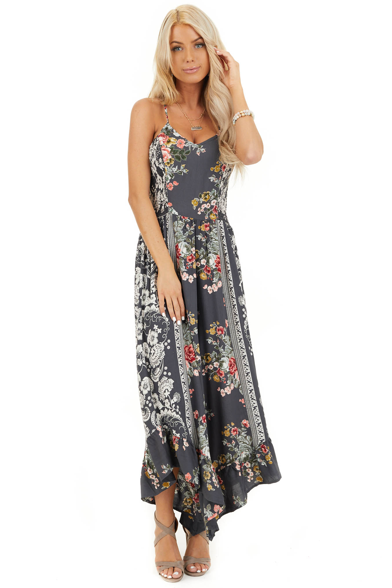 Slate Grey Floral Print Sleeveless Jumpsuit with V Neckline front full body