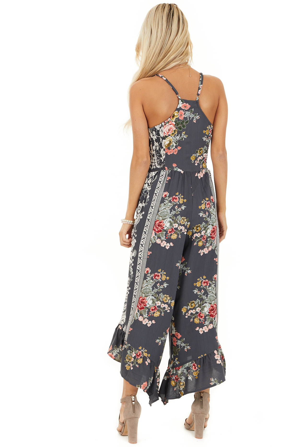 Slate Grey Floral Print Sleeveless Jumpsuit with V Neckline back full body