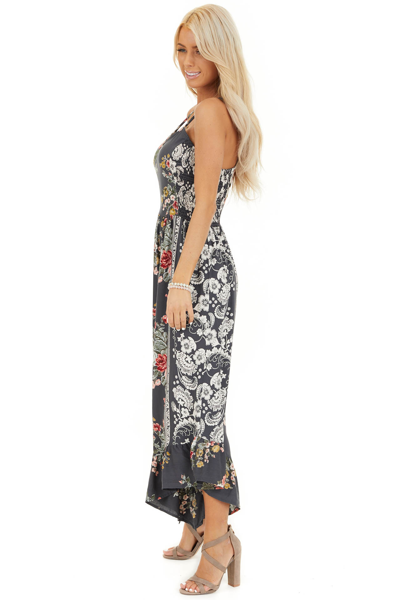 Slate Grey Floral Print Sleeveless Jumpsuit with V Neckline side full body