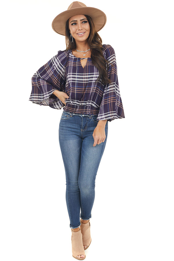 Plum Plaid Smocked Top with Cutout Details