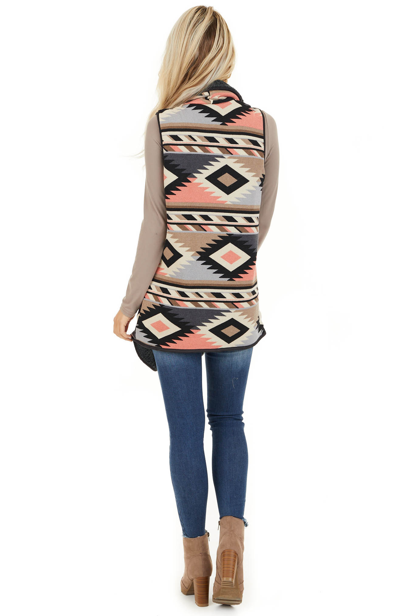 Taupe Charcoal and Coral Tribal Print Vest with Open Front back full body