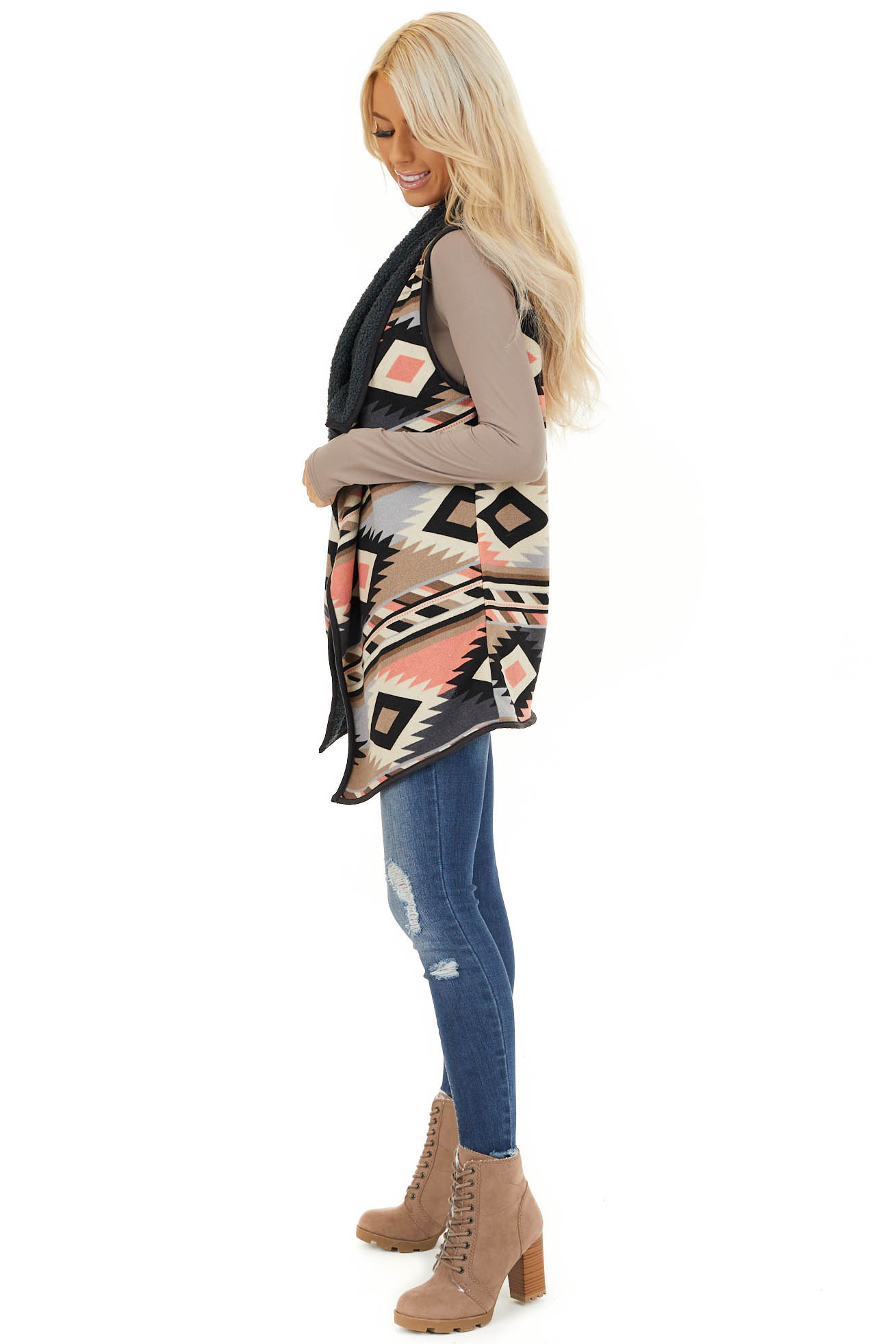 Taupe Charcoal and Coral Tribal Print Vest with Open Front side full body