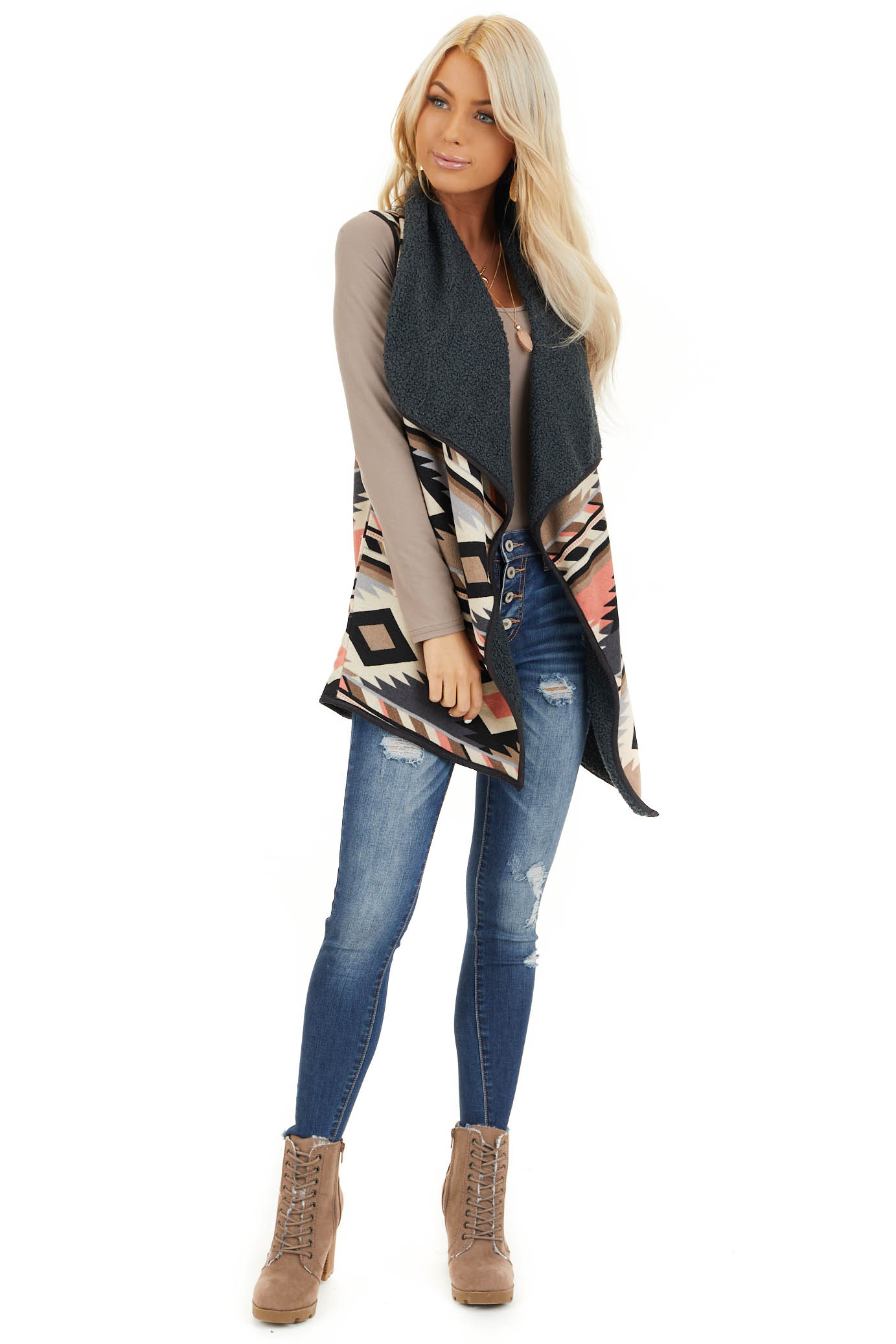 Taupe Charcoal and Coral Tribal Print Vest with Open Front front full body