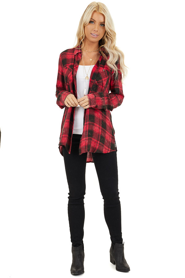 Red and Black Distressed Plaid Button Up Top front full body