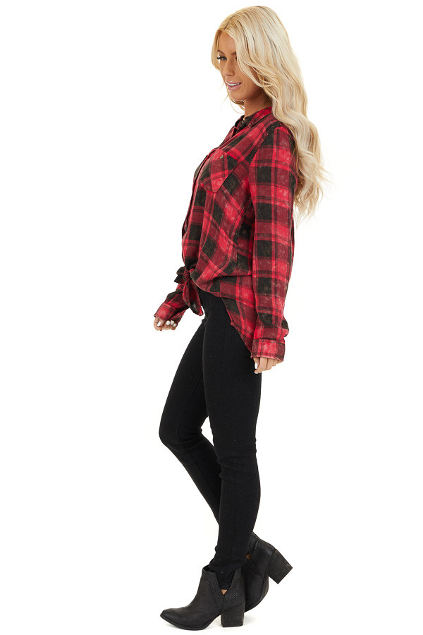 Red and Black Distressed Plaid Button Up Top side full body