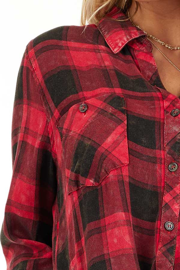 Red and Black Distressed Plaid Button Up Top detail