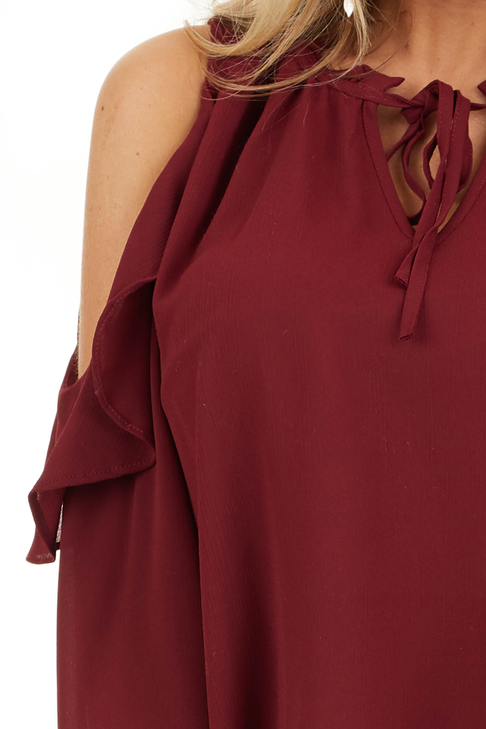 Wine Long Sleeve Cold Shoulder Top with Ruffle Details detail
