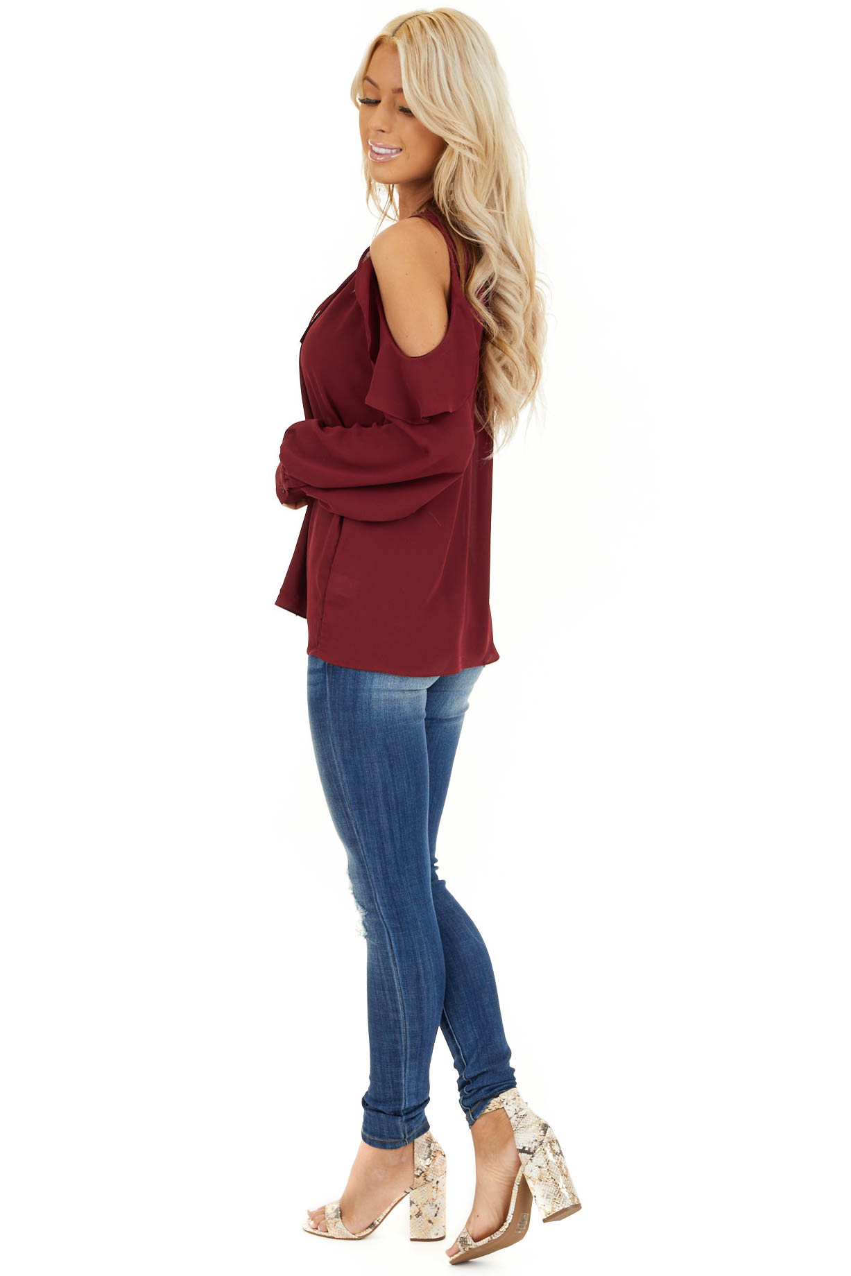 Wine Long Sleeve Cold Shoulder Top with Ruffle Details side full body