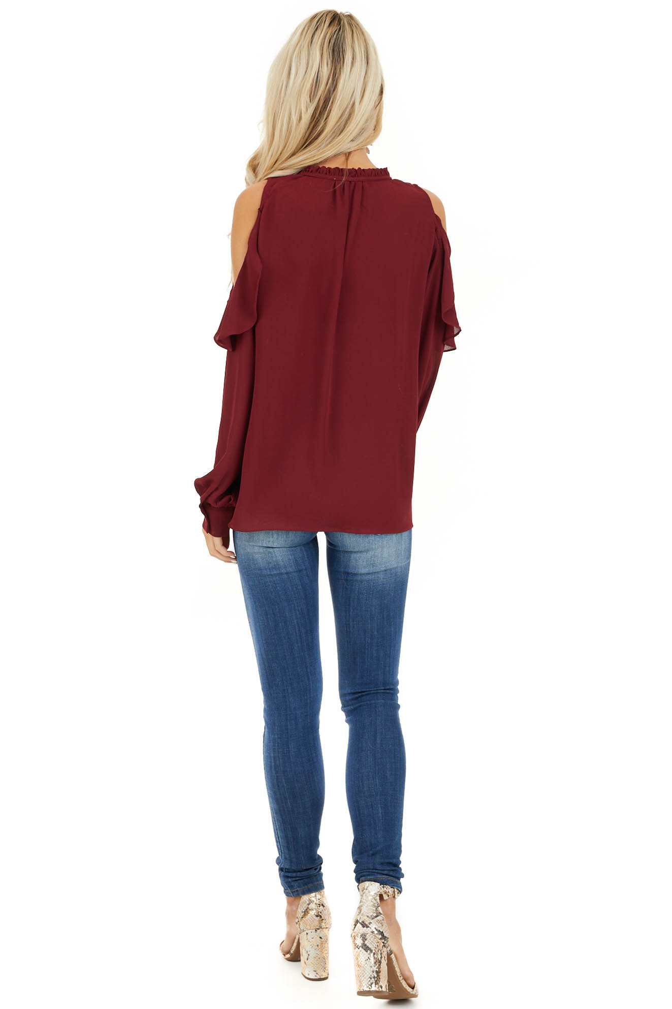 Wine Long Sleeve Cold Shoulder Top with Ruffle Details back full body