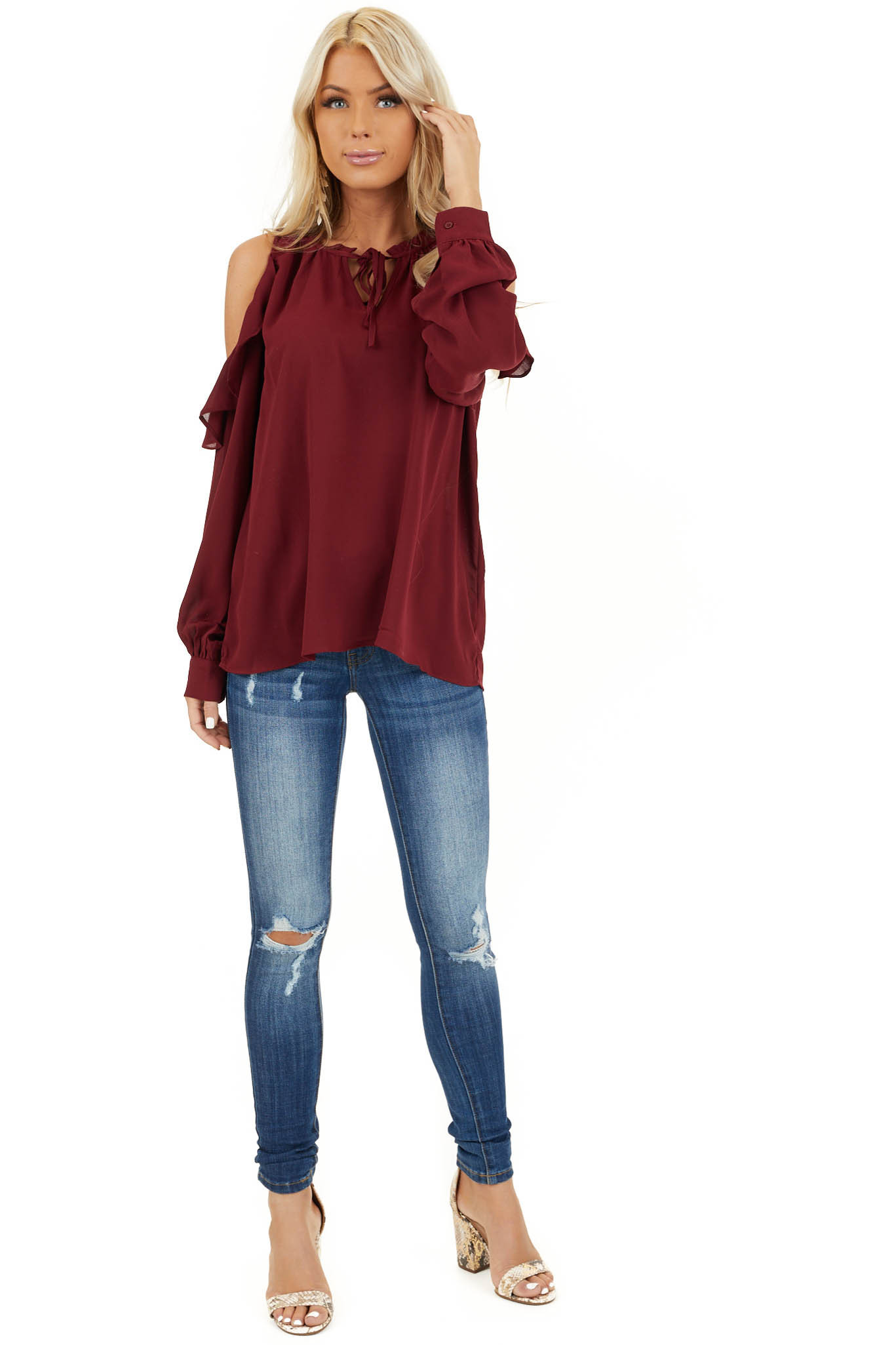 Wine Long Sleeve Cold Shoulder Top with Ruffle Details front full body