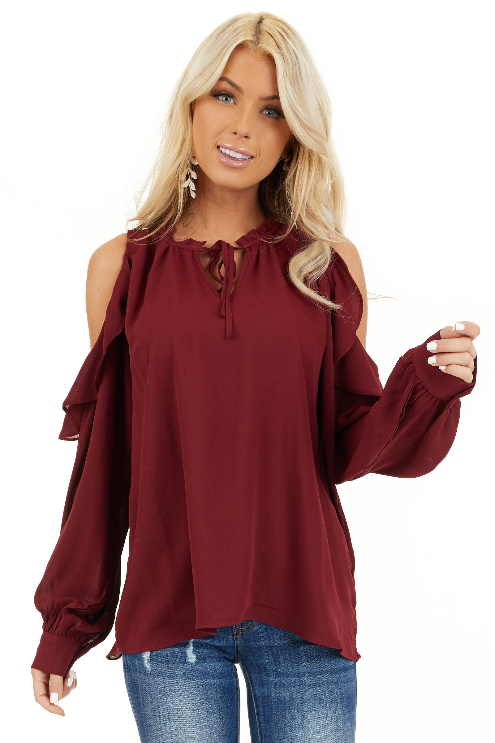 Wine Long Sleeve Cold Shoulder Top with Ruffle Details front close up