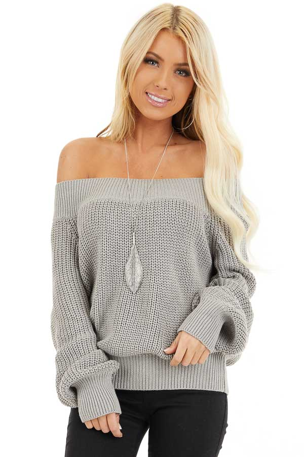 Heather Grey Off the Shoulder Ribbed Long Sleeve Sweater front close up