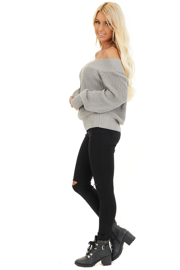 Heather Grey Off the Shoulder Ribbed Long Sleeve Sweater side full body