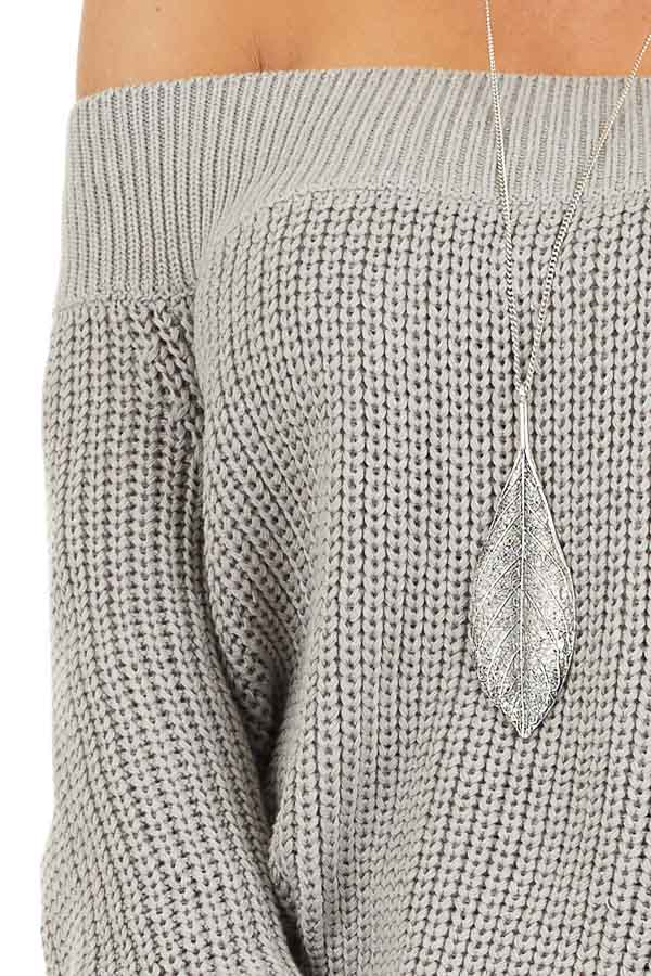 Heather Grey Off the Shoulder Ribbed Long Sleeve Sweater detail