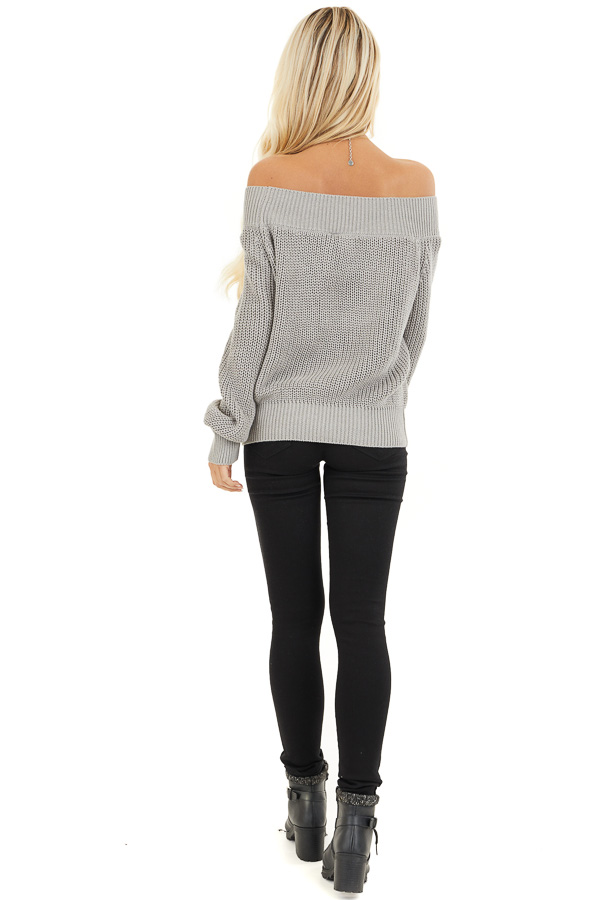 Heather Grey Off the Shoulder Ribbed Long Sleeve Sweater back full body