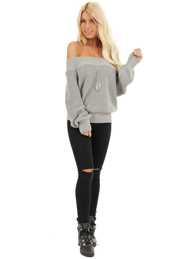 Heather Grey Off the Shoulder Ribbed Long Sleeve Sweater front full body