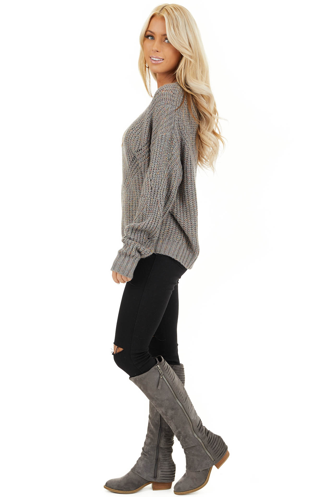 Ash Grey and Multi Color Thread Loose Fit Knit Sweater side full body