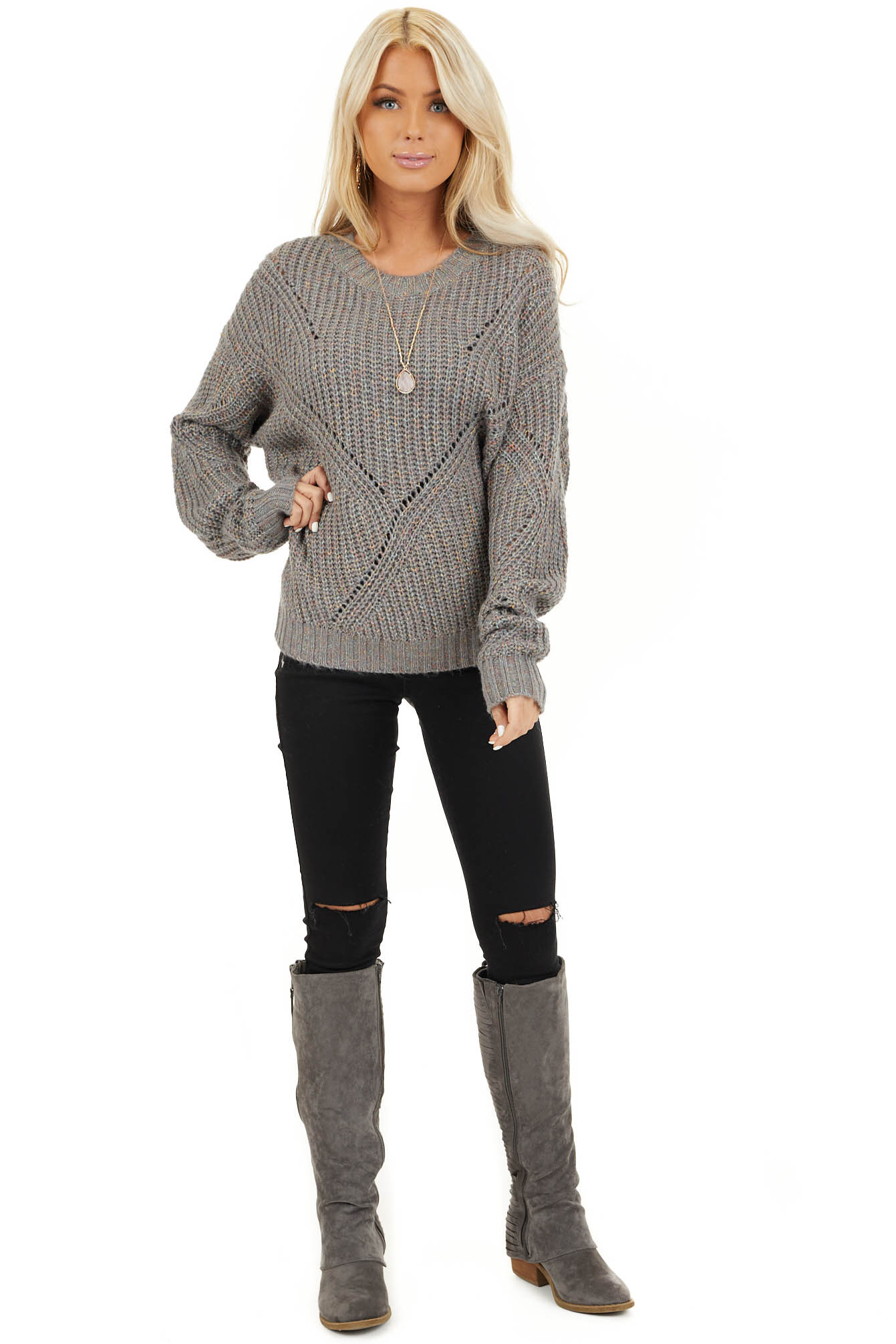 Ash Grey and Multi Color Thread Loose Fit Knit Sweater front full body