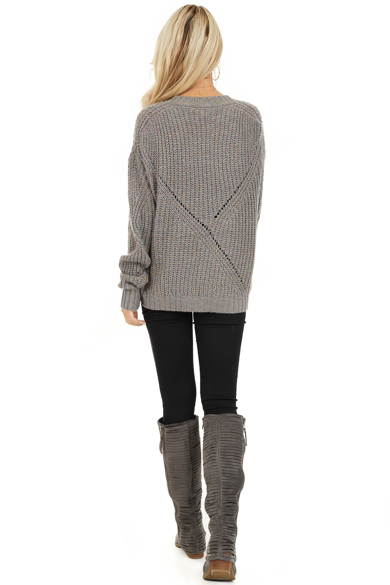 Ash Grey and Multi Color Thread Loose Fit Knit Sweater back full body