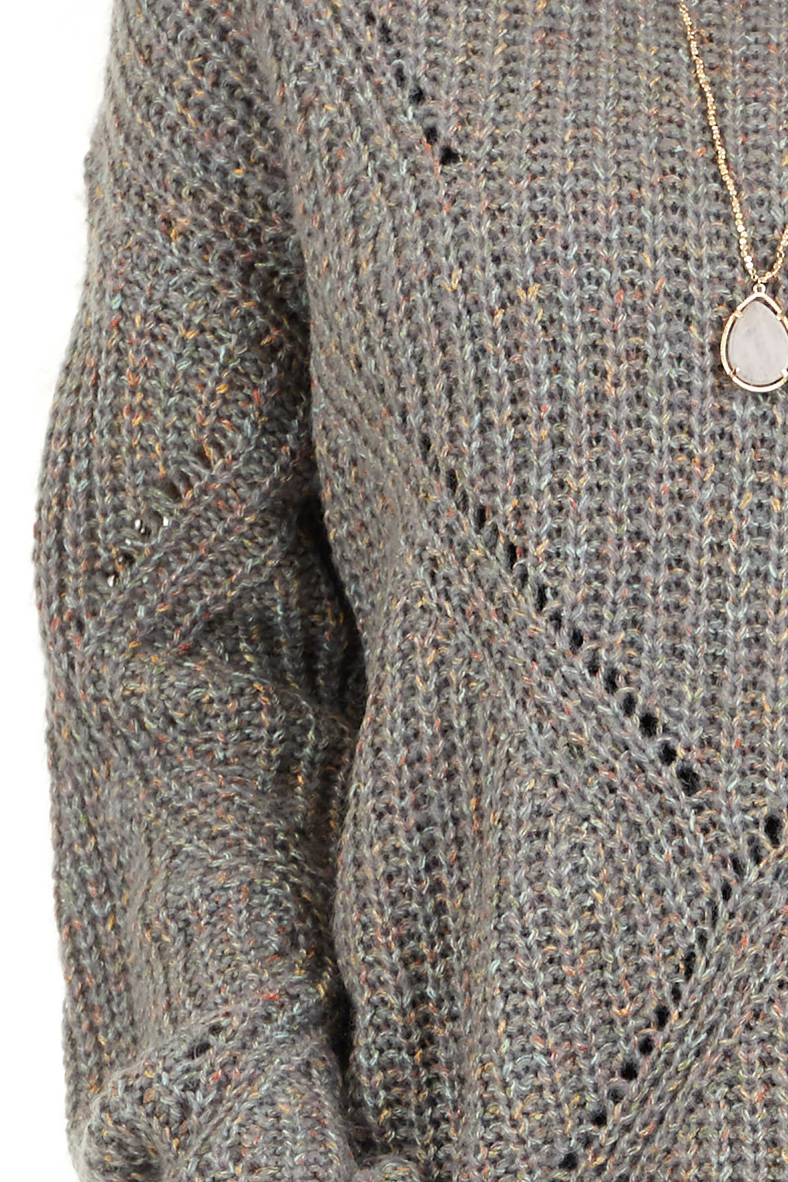 Ash Grey and Multi Color Thread Loose Fit Knit Sweater detail