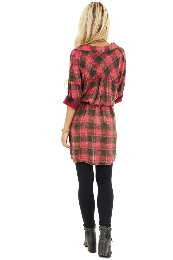 Red and Black Plaid Long Sleeve Tunic Top with Waist Tie back full body