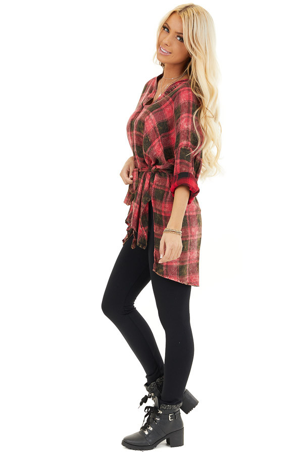 Red and Black Plaid Long Sleeve Tunic Top with Waist Tie side full body