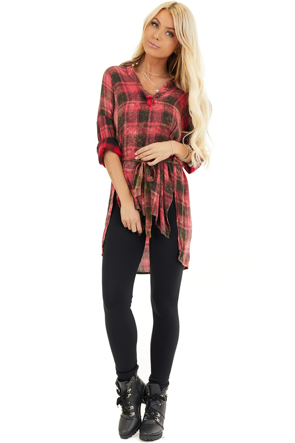 Red and Black Plaid Long Sleeve Tunic Top with Waist Tie front full body