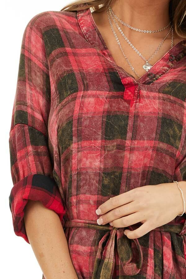 Red and Black Plaid Long Sleeve Tunic Top with Waist Tie detail