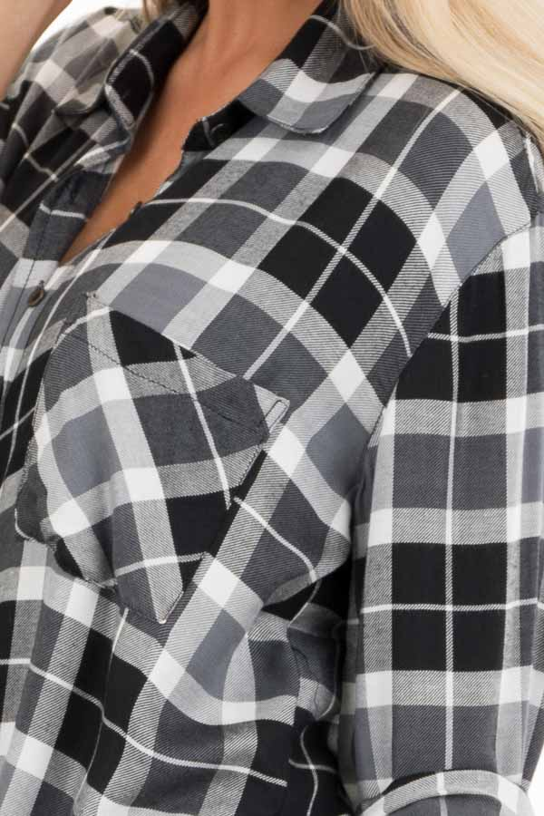 Black and White Plaid Button Up Top with Distressed Hemline detail