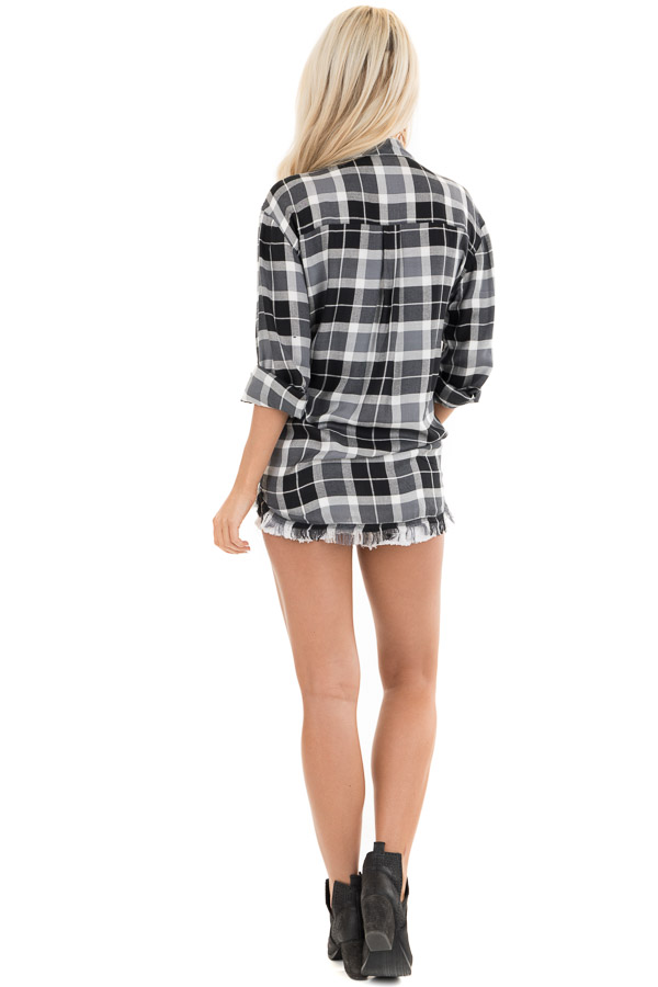 Black and White Plaid Button Up Top with Distressed Hemline back full body