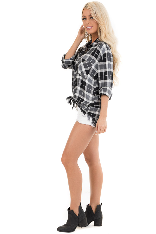 Black and White Plaid Button Up Top with Distressed Hemline side full body