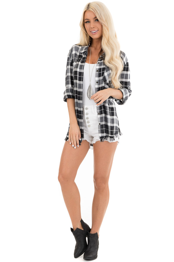 Black and White Plaid Button Up Top with Distressed Hemline front full body