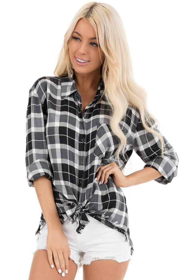 Black and White Plaid Button Up Top with Distressed Hemline front close up