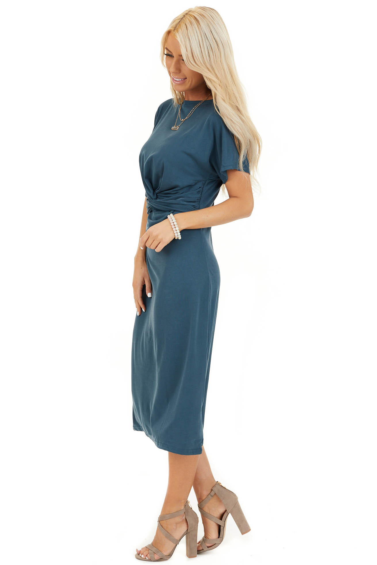 Deep Teal Short Sleeve Midi Dress with Front Twist Detail side full body