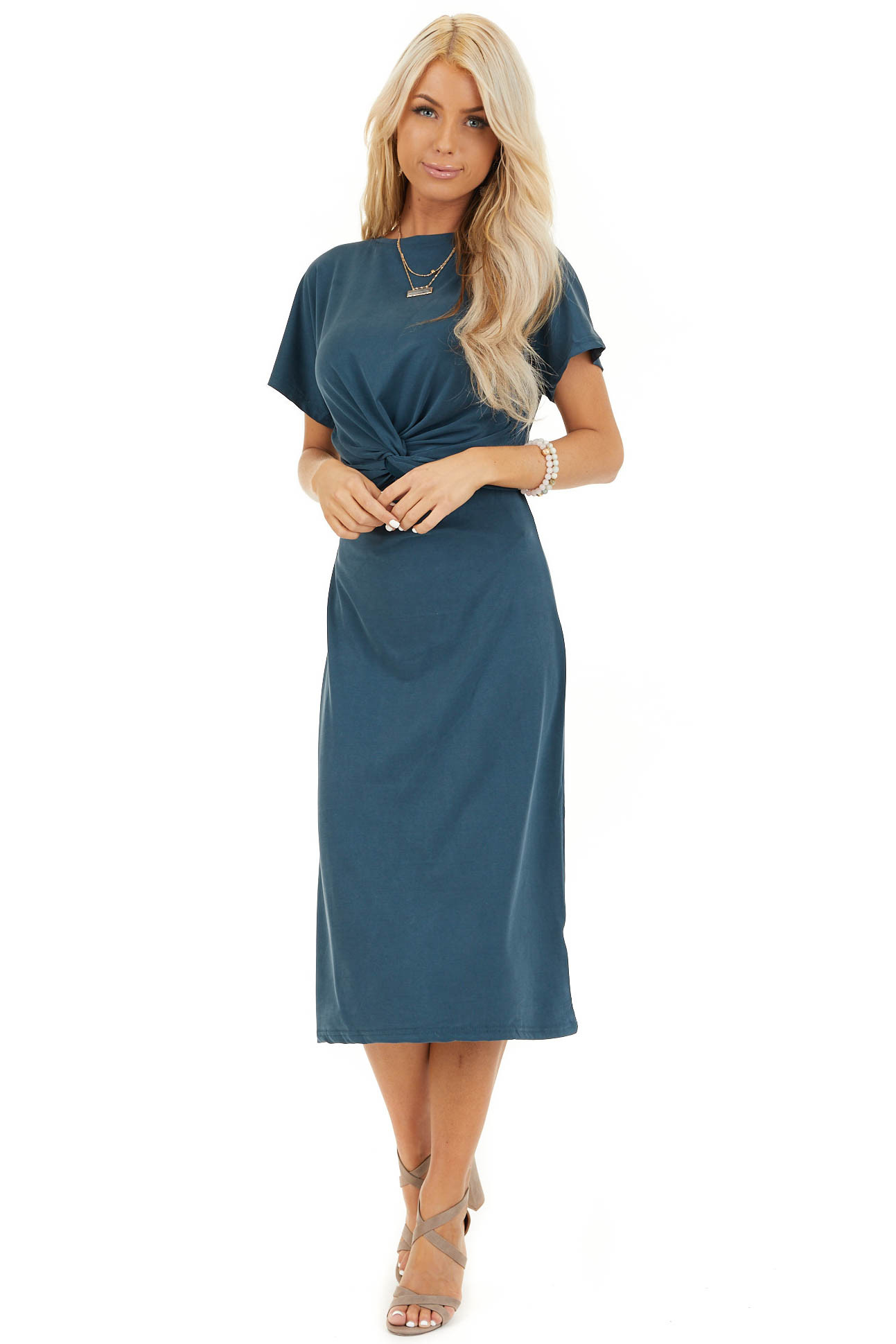 Deep Teal Short Sleeve Midi Dress with Front Twist Detail front full body