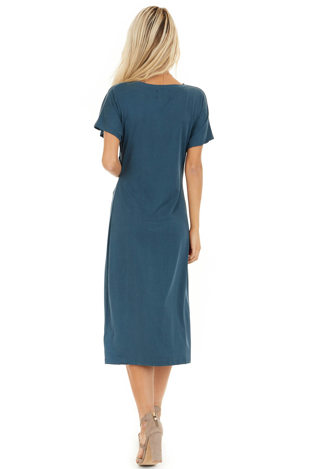 Deep Teal Short Sleeve Midi Dress with Front Twist Detail back full body
