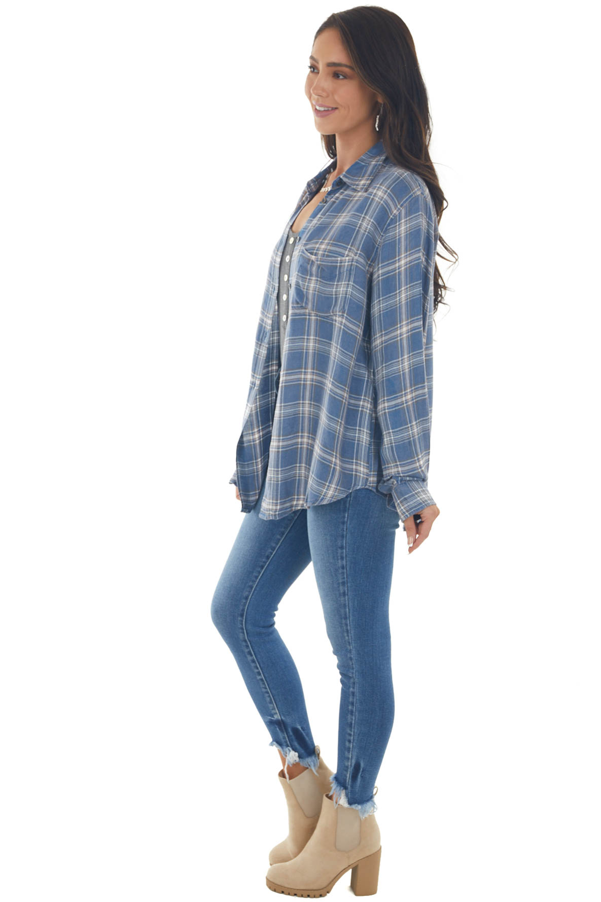Denim Blue Plaid Long Sleeve Button Up Top with Pocket
