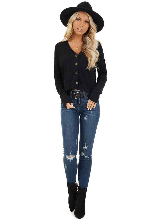 Black Ribbed Button Up V Neck Long Sleeve Crop Top front full body