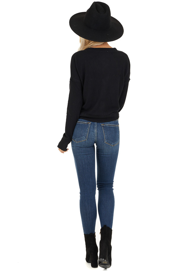 Black Ribbed Button Up V Neck Long Sleeve Crop Top back full body