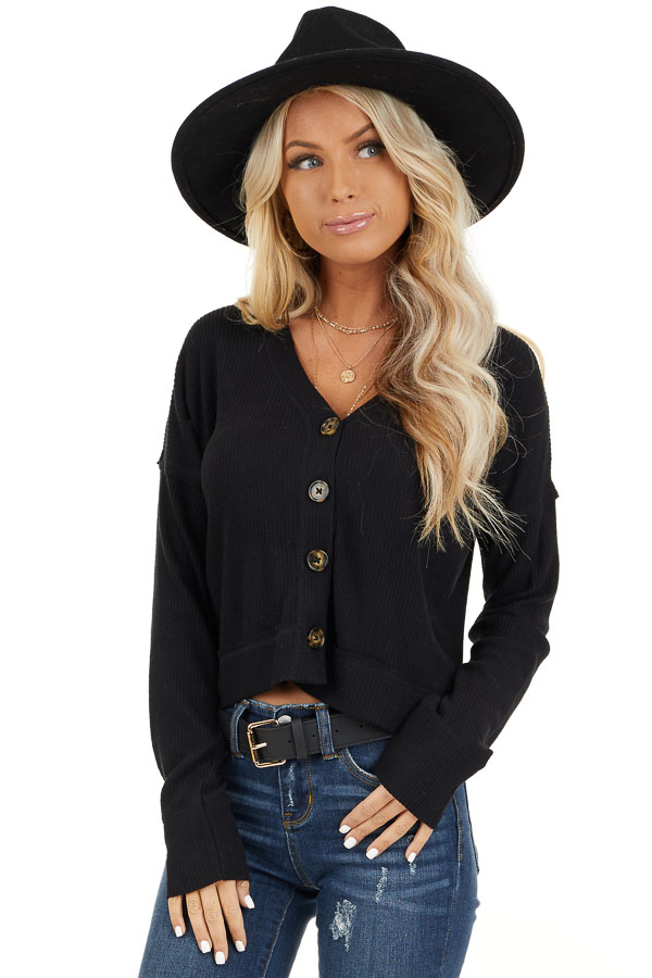 Black Ribbed Button Up V Neck Long Sleeve Crop Top front close up