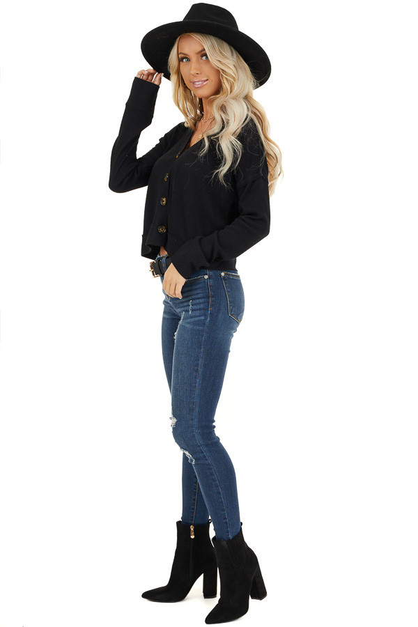 Black Ribbed Button Up V Neck Long Sleeve Crop Top side full body