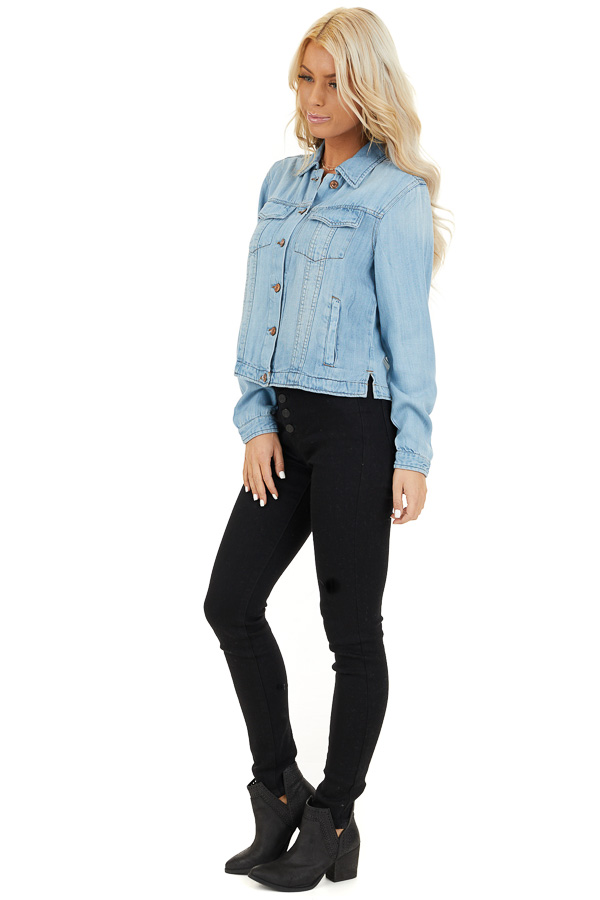 Light Wash Soft Tencel Denim Jacket side full body