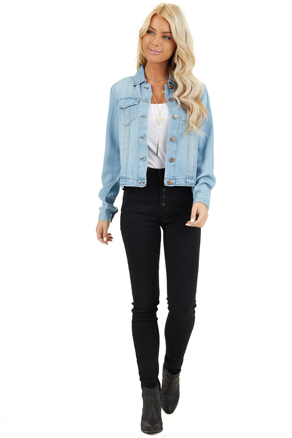 Light Wash Soft Tencel Denim Jacket front full body