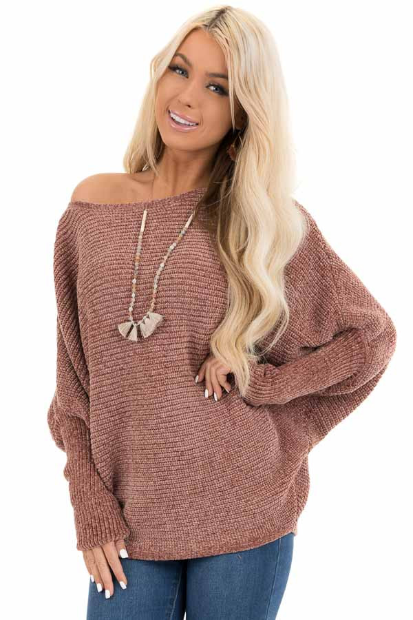 Faded Terra Cotta Chenille Sweater Top with Dolman Sleeves front close up