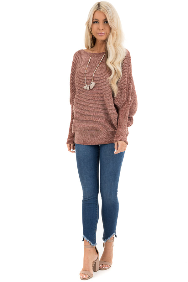 Faded Terra Cotta Chenille Sweater Top with Dolman Sleeves front full body