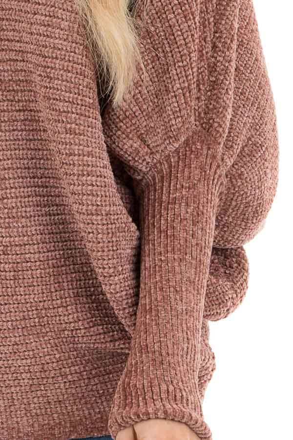 Faded Terra Cotta Chenille Sweater Top with Dolman Sleeves detail