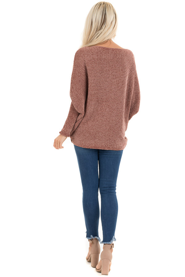 Faded Terra Cotta Chenille Sweater Top with Dolman Sleeves back full body